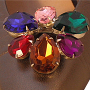 Shoe Clip by MUSI with Large Multi Colored Pear Shaped Stones