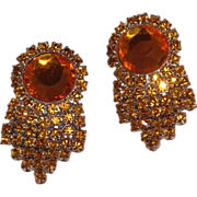 Vintage MUSI Shoe Clip with Topaz Austrian Crystal Rhinestones and Acrylic Center Stone