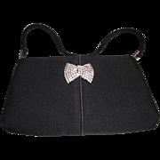 Vintage Black Evening Bag with Rhinestone Pin