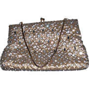 REDUCED Vintage Gold Purse by Pam |- Glass Rhinestone Prong Set Purse Handbag