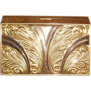 REDUCED Vintage Multi Tone Gold Plated Evans Minaudiere Dance Compact