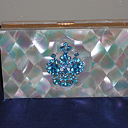 REDUCED Evans Mother of Pearl Minaudiere |Dance Compact with Aqua Rhinestones