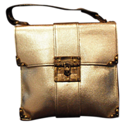 SOLD 1960's BATTANI  Gold Leather Small Satchel - new - Red Tag Sale Item