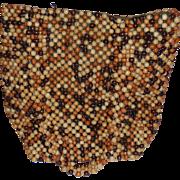 Vintage Brown Beige Wood Bead Large Handbag Purse Wooden Beaded