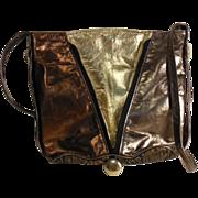 Vintage Metallic Multi Leather Shoulder Bag Tote Feedbag Purse