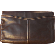 Vintage Large Morris Moskowitz Dark Brown Leather Handbag Purse Clutch