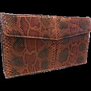 Vintage New Unused Clutch Handbag Purse in Rust, Brown, Black Python Snakeskin.