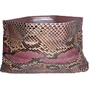 Vintage Clutch Handbag Purse in Purple Beige Brown Python Snakeskin