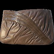 Vintage Morris Moskowitz Taupe Leather Reptile Purse  Clutch Shoulder Bag