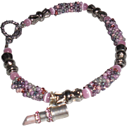 SALE Artisan Pink Tweed Seed Bead Bracelet with Breast Cancer Charm
