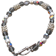 """REDUCED Silver Seed Beads and Czech Glass Druk and Facetted Beads Bracelet - 7.75"""""""