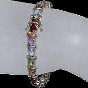 REDUCED Sterling Semi-Precious Multi-Color Bracelet  | 7.5 inches