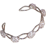 Vintage Sterling Silver Flowered Cuff Bracelet approx. 6.75 inches