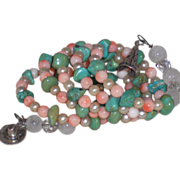 Turquoise Coral and Faux Pearl Memory Wire Bracelet