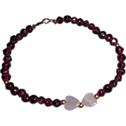 Vintage Rubellite Tourmaline Rose Quartz Hearts Bracelet  7.75 inches