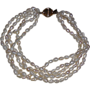 Vintage Biwa Pearl Bracelet - 5 Strands with 10 Kt Yellow Gold Clasp