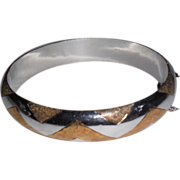 Vintage Sterling Bangle with Gold Chevron Wash