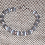 """SOLD Grey Cat's Eye Bracelet – Extra Large – 8.5"""" Can be Shortened - Red Tag Sale Item"""