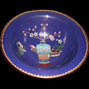 SALE Blue Cloisonné Bowl with Designs (vase, fruit and flowers)