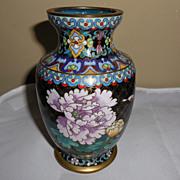 SALE Vintage Small Black Cloisonné Vase