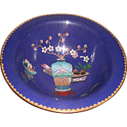 REDUCED Vintage Blue Cloisonné Bowl with Designs (vase, fruit and flowers)