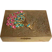 REDUCED Vintage Chinese Brass Box with Colored Rhinestone Decoration