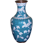 SALE Small Vintage Turquoise and White Cloisonné Vase
