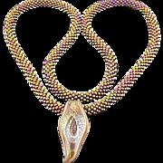 Metallic Multi glass seed bead Necklace w/Pendant.