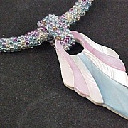 REDUCED Vintage Pink/White/Blue Mother of Pearl Pendant with Crocheted Seed Bead Necklace