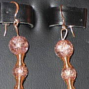 Gold Crackle Glass Beaded Earrings = Pierced