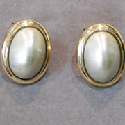Large Ciner Oval Faux Pearl Clip Earrings
