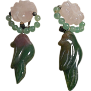 Vintage Hand Carved Tourmaline Clip Earrings