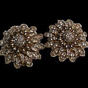 Panetta Austrian Crystal Rhinestone Gold Plated Earrings - Clips