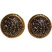Leslie Block Gold Plated Round Button Shaped Earrings - Clip