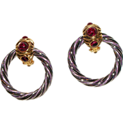 Barrera Gold and Silver Plated Door Knocker Earrings with Faux Stones