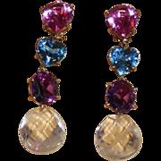 Magnificent 10Kt Cold Multi Colored Semi-Precious Stones Clip Earrings