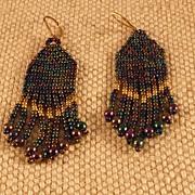 Blue Iris Seed Bead Earrings
