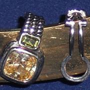 Sterling Silver with Lemon & Peridot Quartz Clip Earrings