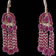 REDUCED Vintage Art Deco 18Kt Yellow Gold Ruby Chandelier Vintage Dangle Earrings