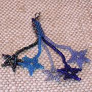 Blue Multi - colored Seed Bead Star Earrings