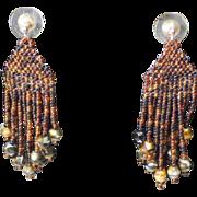 Brown Multi-colored Seed Bead Earrings