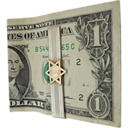 REDUCED Sterling Silver Money Clip with 10K Gold Jewish Star by Hickok