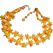 """REDUCED Yellow and Orange West German Beaded Necklace -14"""" +"""