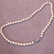 """Cultured Pearls – Hand knotted with Sterling Clasp – 16"""""""