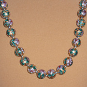 """Gold Colored Cloisonne Bead Necklace – 27"""""""