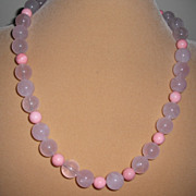 """Rose Quartz  / Pink Coral Necklace with  Magnetic Clasp – 21.5"""""""