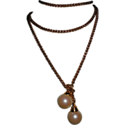"""Gold Plated Chain Lariat with Faux Pearl Tips – 48"""""""