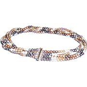 Five Strand Many Colored Pearl Necklace with Sterling Silver Slide Clasp