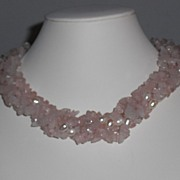 REDUCED Vintage 1980's Rose Quartz and Freshwater Pearl Twisted Torsade Necklace  - 17.25""
