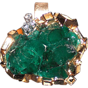 REDUCED Modernist Vintage 18Kt Yellow Gold Emerald and Diamond Pendant